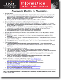 Anaphylaxis Checklist for Pharmacists