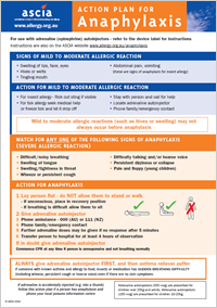 ASCIA Action Plan for Anaphylaxis general for use with autoinjectors