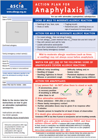 ASCIA Action Plan for Anaphylaxis personal for use with autoinjectors