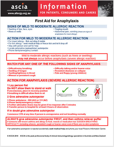 ASCIA First Aid for Anaphylaxis