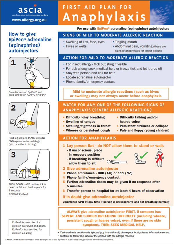 ASCIA First Aid Plans for Anaphylaxis (ORANGE) for use with EpiPen® adrenaline autoinjectors 2020