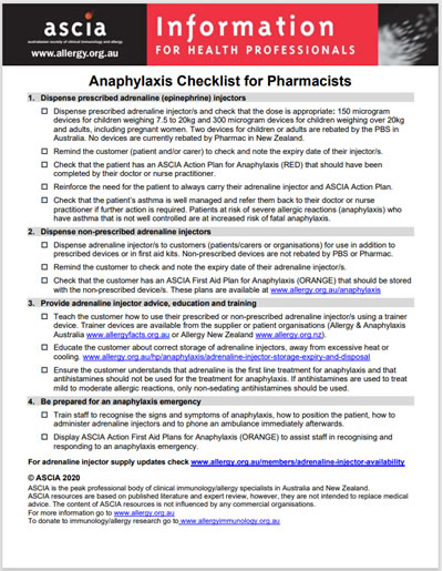 ASCIA Anaphylaxis Checklist for Pharmacists
