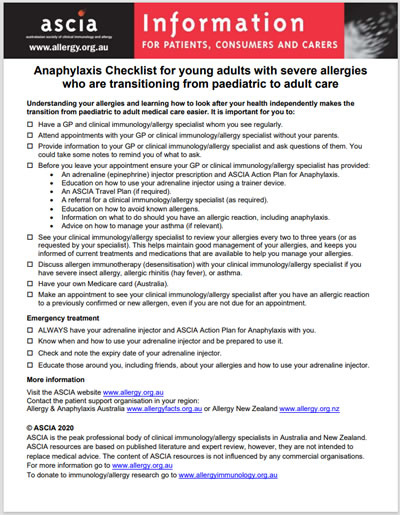 Anaphylaxis Checklist Transitioning from paediatric to adult care for young adults with severe allergies