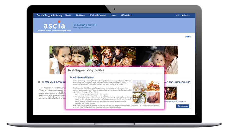 ASCIA food allergy e-training for dietitians